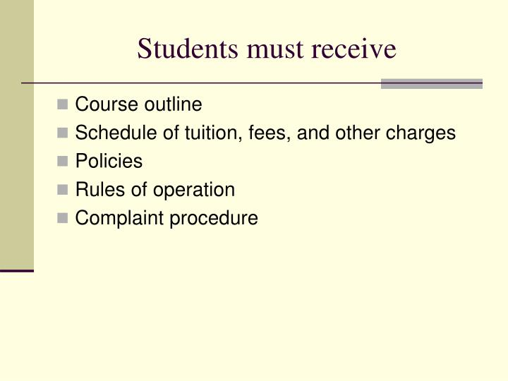 Students must receive