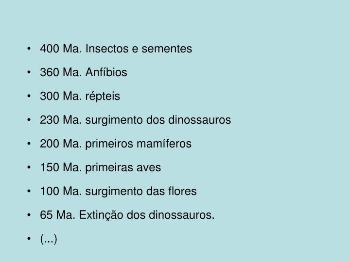400 Ma. Insectos e sementes