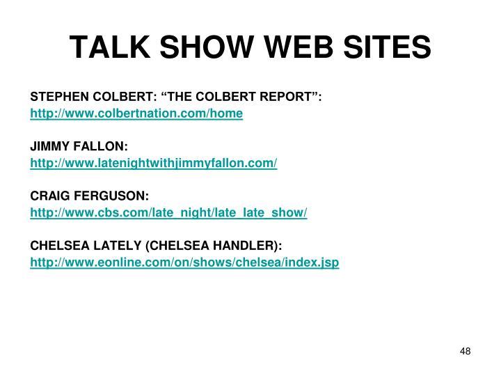 TALK SHOW WEB SITES