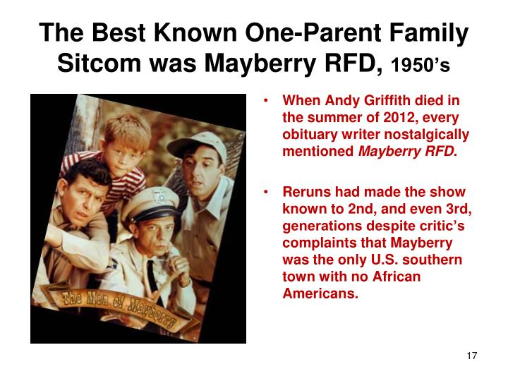 The Best Known One-Parent Family Sitcom was Mayberry RFD,