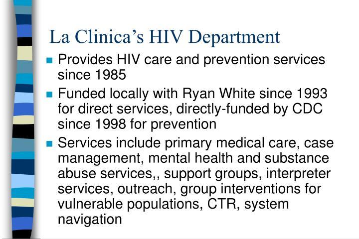 La Clinica's HIV Department