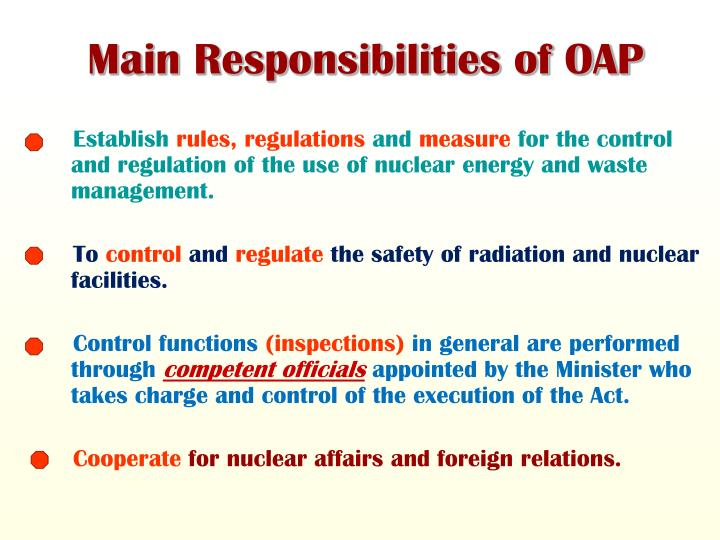 Main Responsibilities of OAP