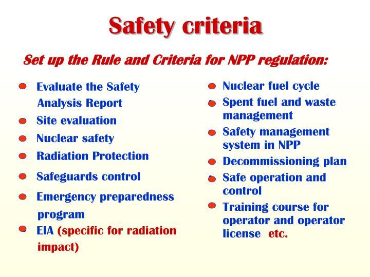Safety criteria