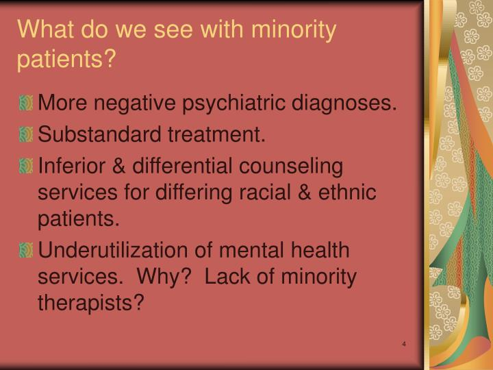 What do we see with minority patients?