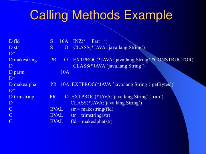 Calling Methods Example