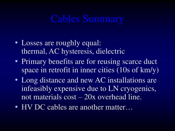 Cables Summary