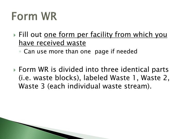 Form WR