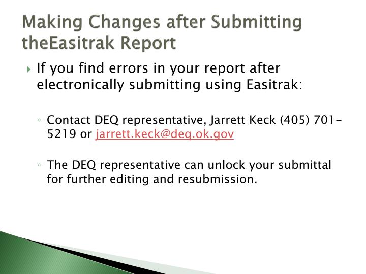 Making Changes after Submitting
