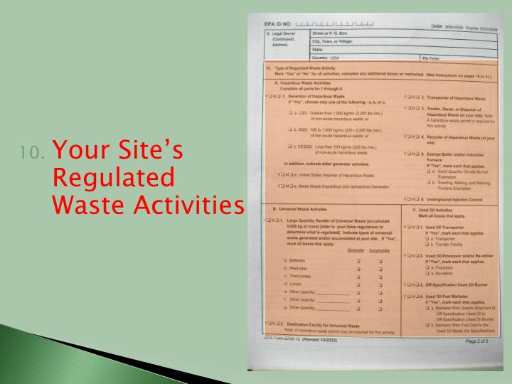 Your Site's Regulated Waste Activities