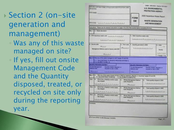 Section 2 (on-site generation and management)