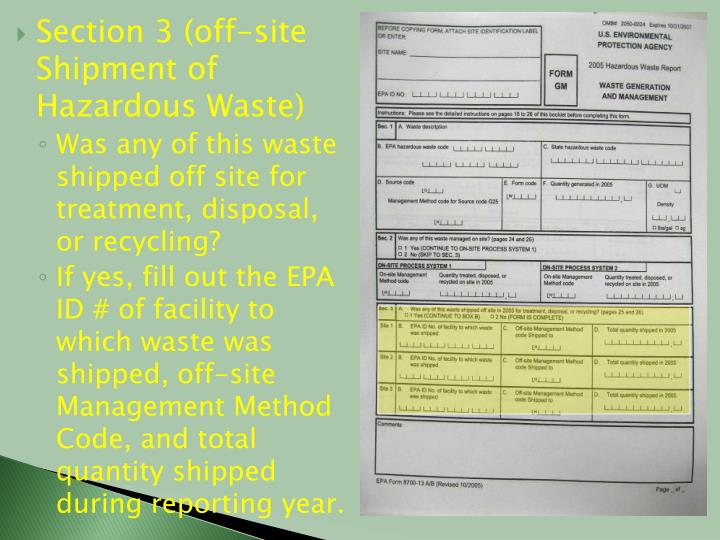 Section 3 (off-site Shipment of Hazardous Waste)