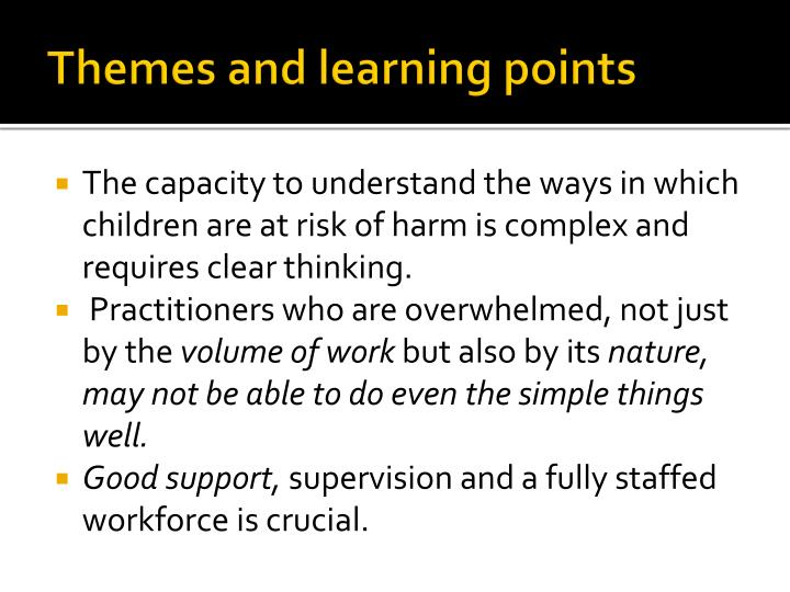 Themes and learning points