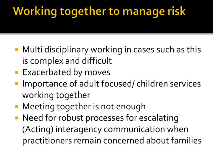 Working together to manage risk