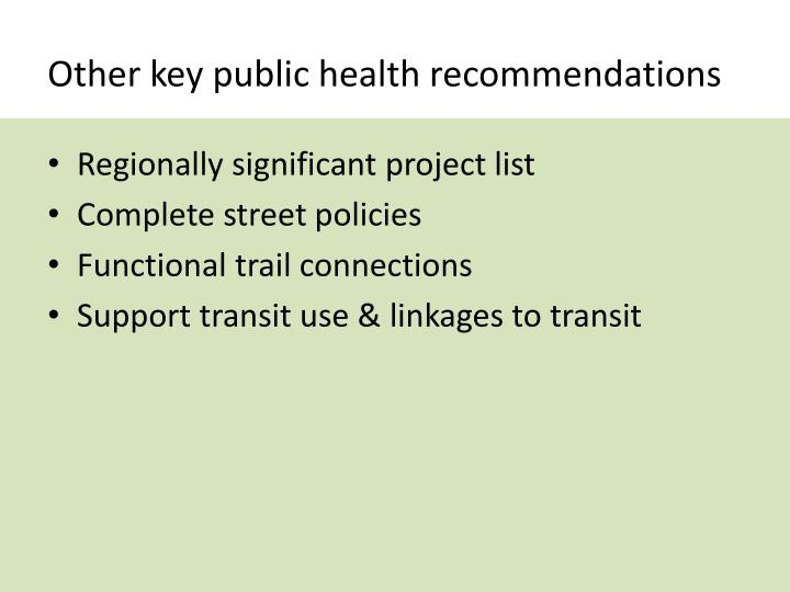 Other key public health recommendations