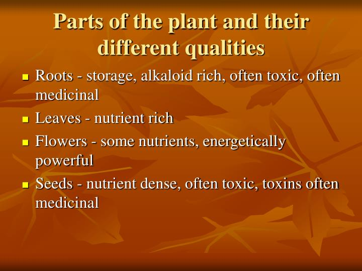 Parts of the plant and their different qualities