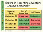errors in reporting inventory income statement