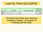 last in first out lifo
