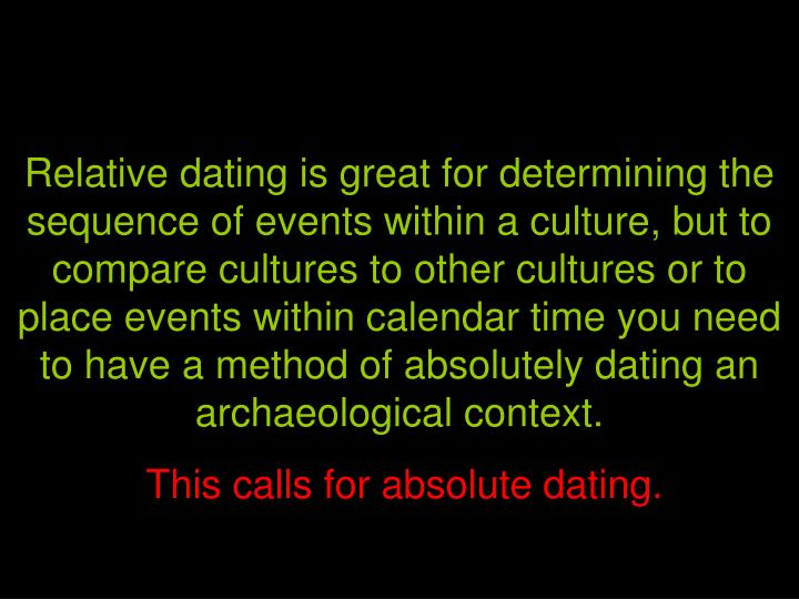 Relative dating is great for determining the sequence of events within a culture, but to compare cultures to other cultures or to place events within calendar time you need to have a method of absolutely dating an archaeological context.
