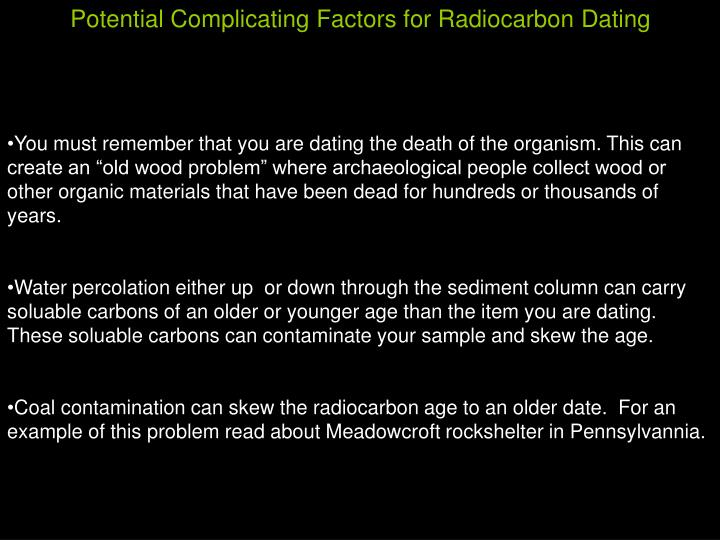 Potential Complicating Factors for Radiocarbon Dating