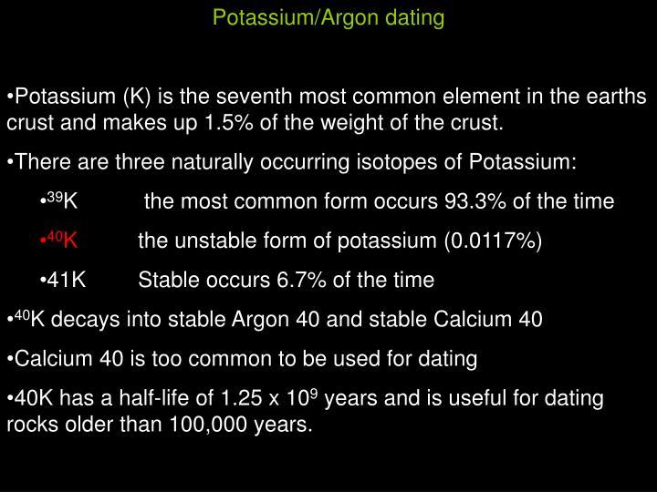 Potassium/Argon dating