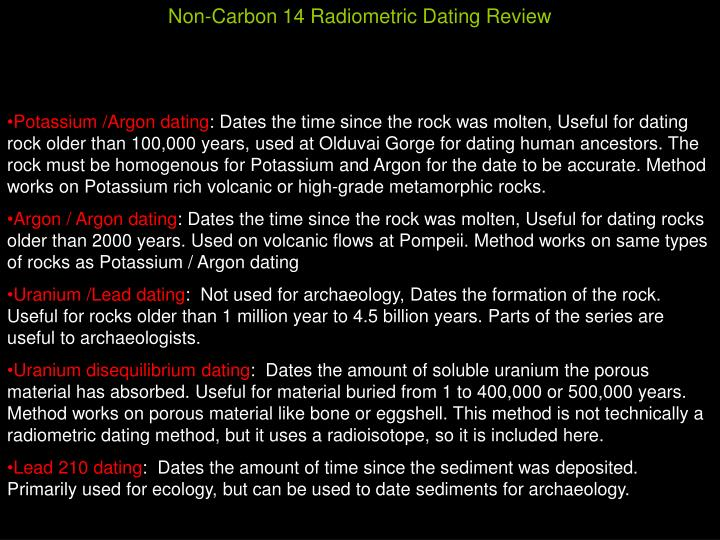 Non-Carbon 14 Radiometric Dating Review