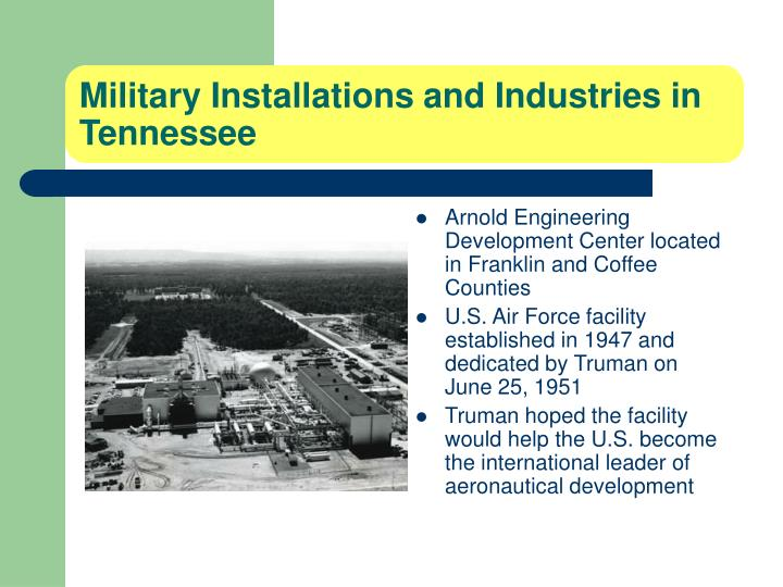 Military Installations and Industries in Tennessee