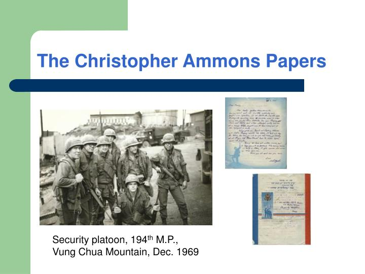 The Christopher Ammons Papers