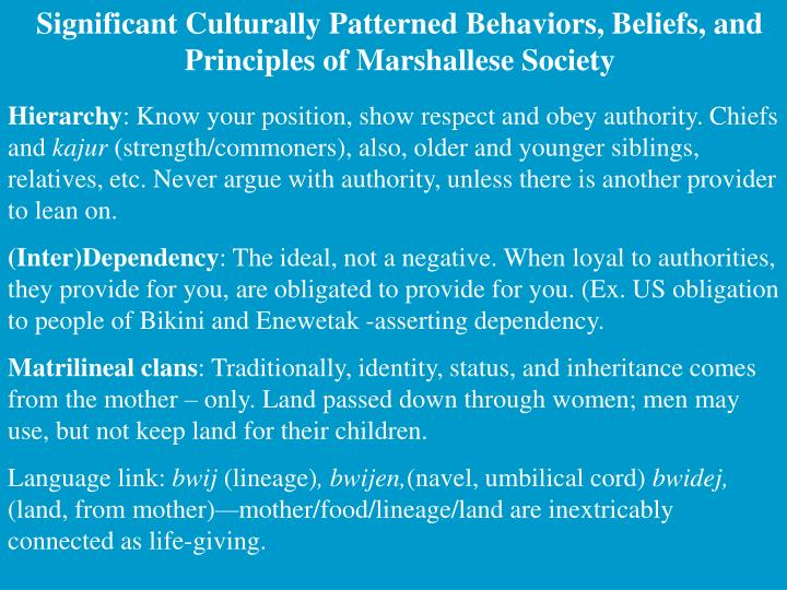 Significant Culturally Patterned Behaviors, Beliefs, and Principles of Marshallese Society