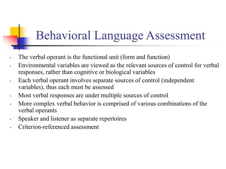Behavioral Language Assessment