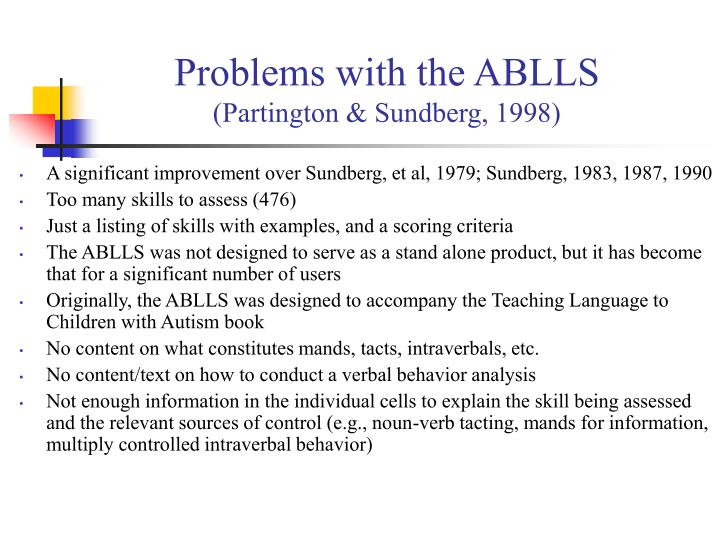 Problems with the ABLLS