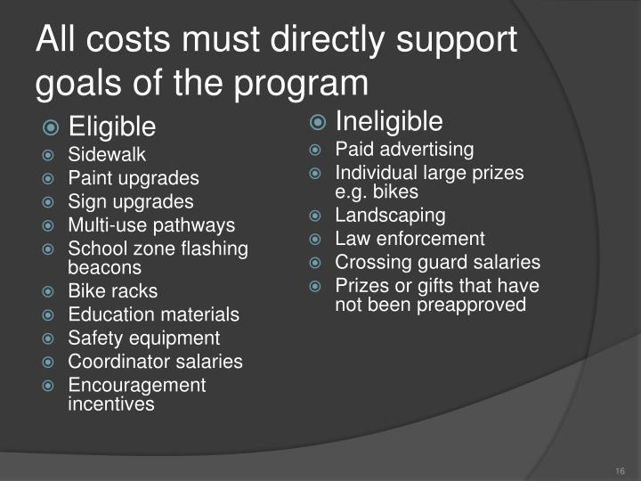 All costs must directly support goals of the program