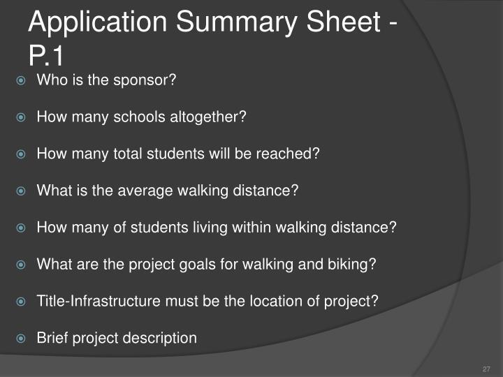 Application Summary Sheet - P.1