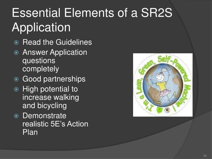 Essential Elements of a SR2S Application