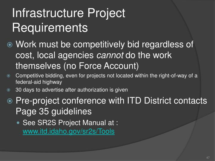 Infrastructure Project Requirements