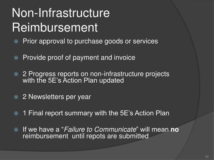 Non-Infrastructure Reimbursement