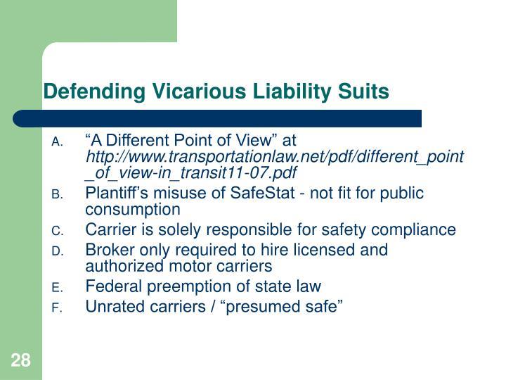 Defending Vicarious Liability Suits