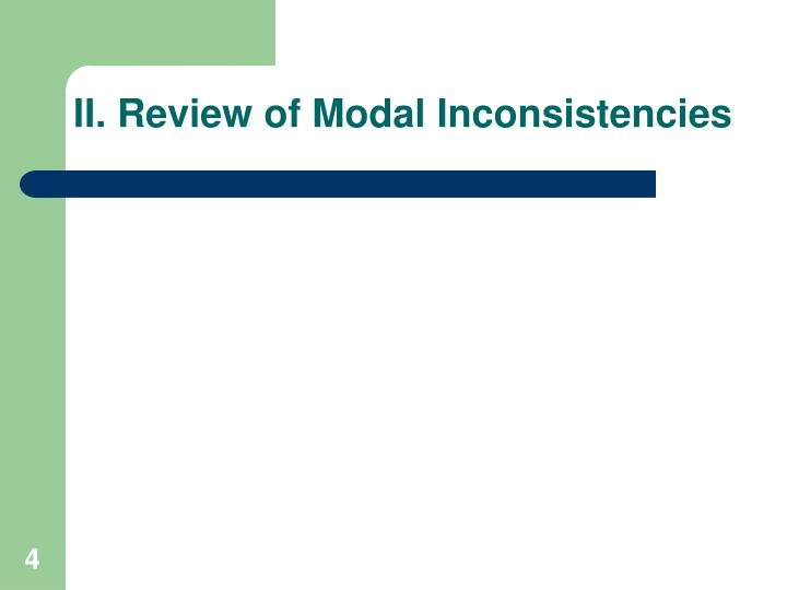 II. Review of Modal Inconsistencies