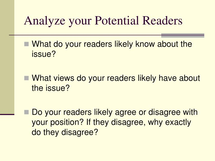 Analyze your potential readers
