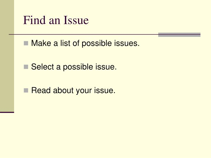 Find an issue