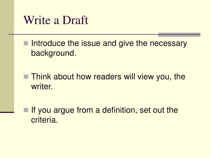 Write a Draft