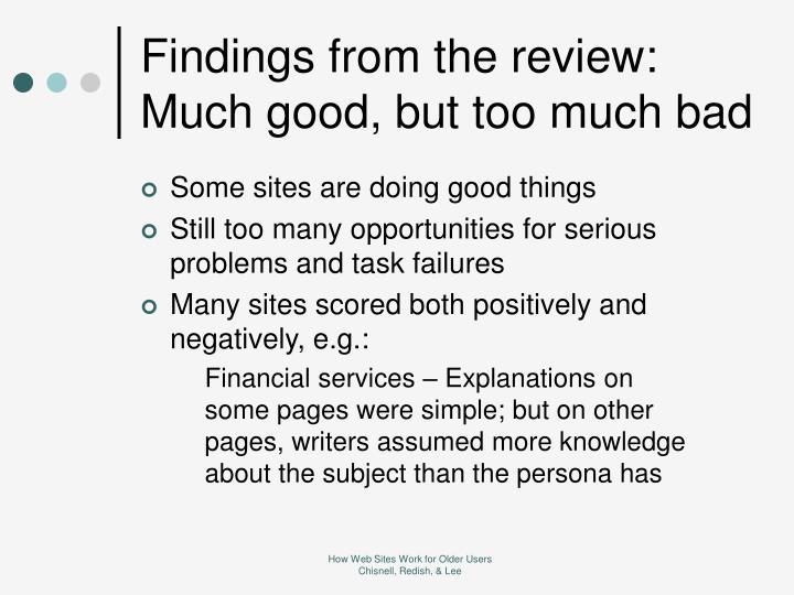 Findings from the review: