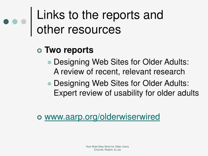 Links to the reports and other resources