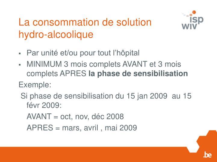 La consommation de solution hydro-alcoolique