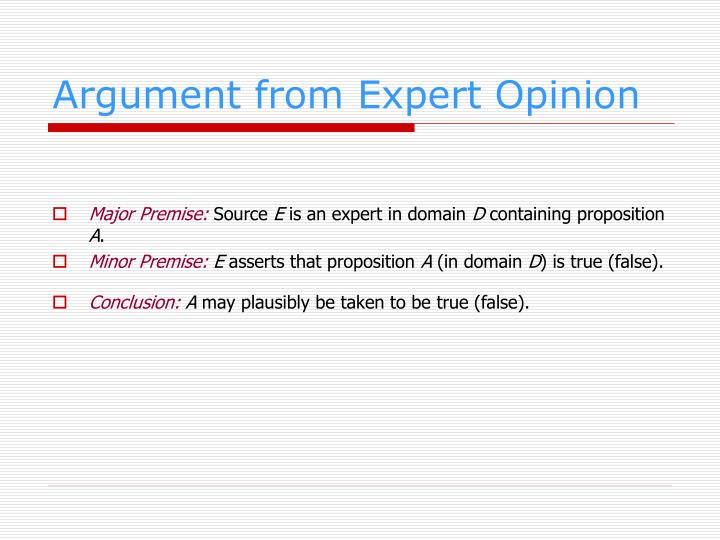 Argument from Expert Opinion