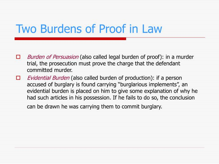 Two Burdens of Proof in Law