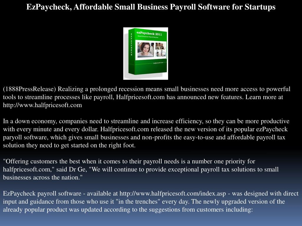 EzPaycheck, Affordable Small Business Payroll Software for Startups