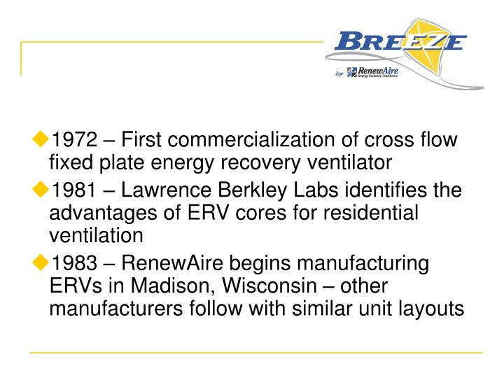 1972 – First commercialization of cross flow fixed plate energy recovery ventilator