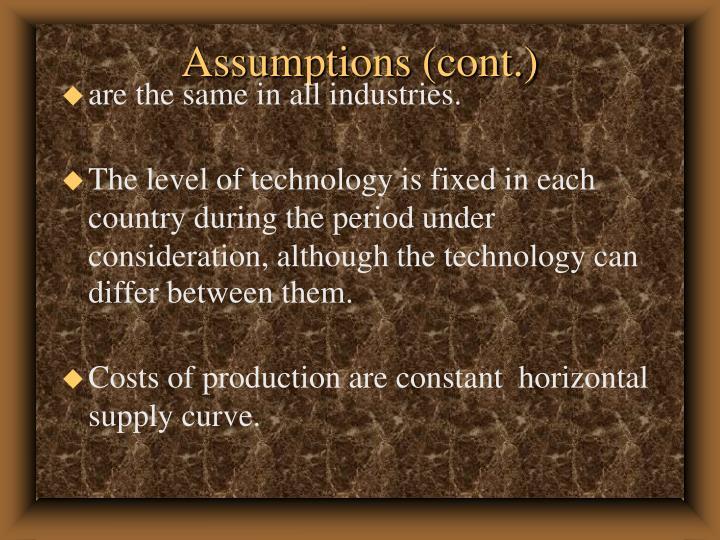 Assumptions (cont.)