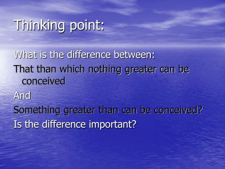 Thinking point: