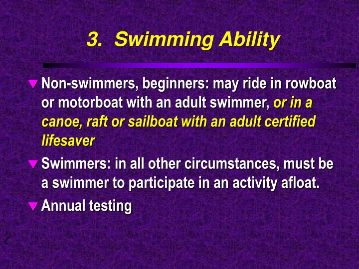 3.  Swimming Ability